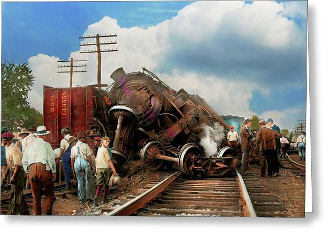 Greeting Card featuring the photograph Train - Accident - Butting Heads 1922 by Mike Savad