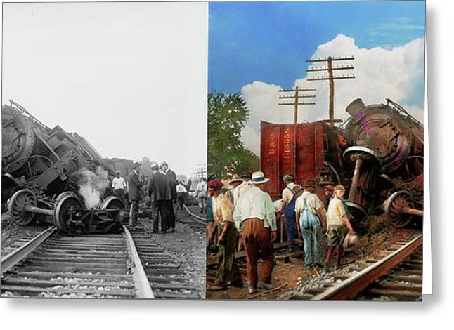 Greeting Card featuring the photograph Train - Accident - Butting Heads 1922 - Side By Side by Mike Savad