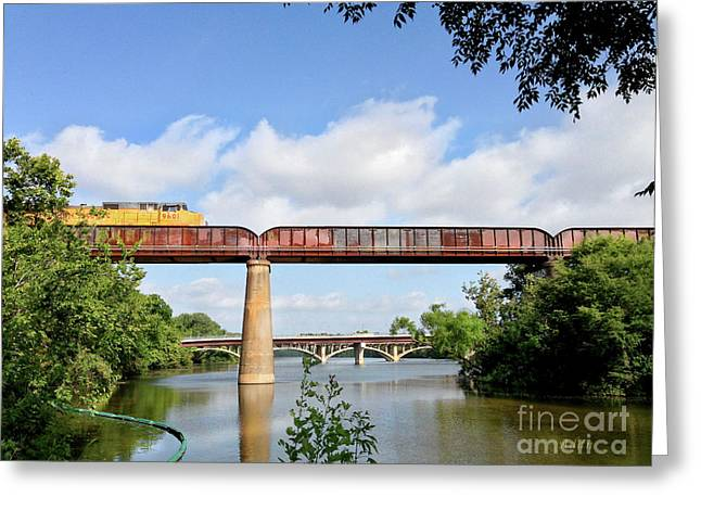 Train Across Lady Bird Lake Greeting Card