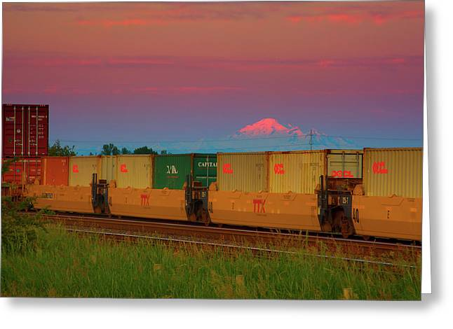 Train And Mount Baker Greeting Card by Paul Kloschinsky