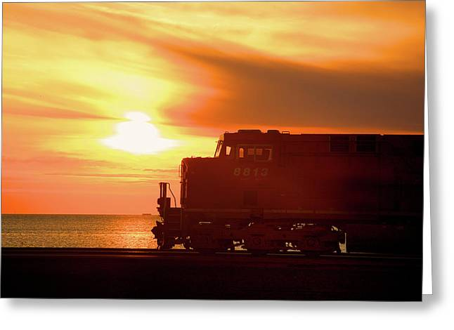 Train And Sunset Greeting Card by Paul Kloschinsky