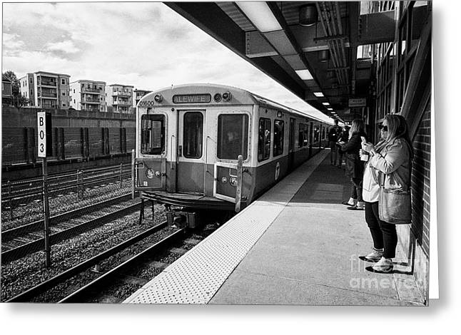 train arriving at savin hill mbta station on the red line dorchester Boston USA Greeting Card
