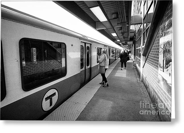 train at savin hill mbta station on the red line dorchester Boston USA Greeting Card