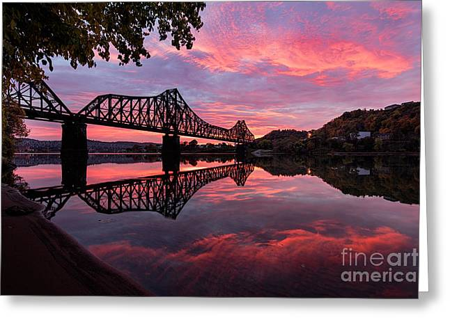 Train Bridge At Sunrise  Greeting Card