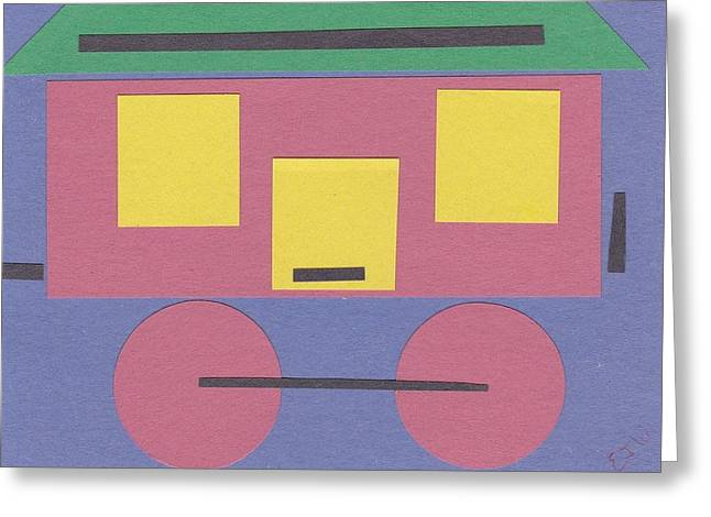 Train Caboose Greeting Card by Ellen Jenny Watkins