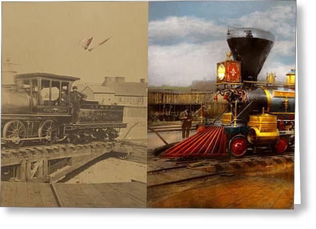 Train - Civil War - Em Stanton 1864 - Side By Side Greeting Card