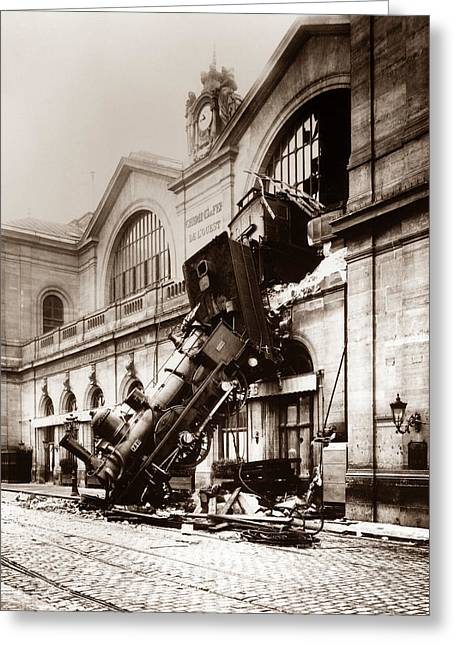 Train Derailment At Montparnasse Station - 1895 Greeting Card by War Is Hell Store