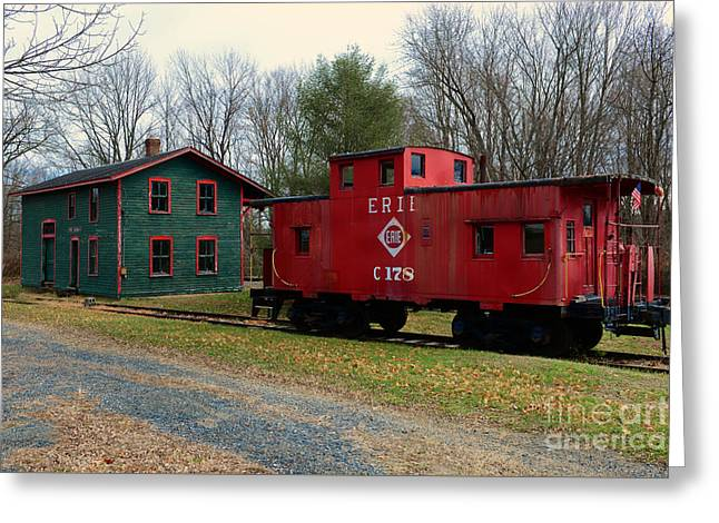 Train - Erie Rr Line Caboose Greeting Card by Paul Ward