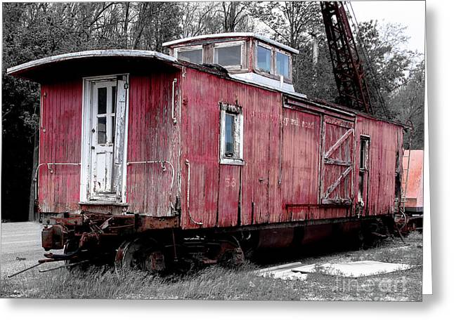 Train In Barn Red  Greeting Card