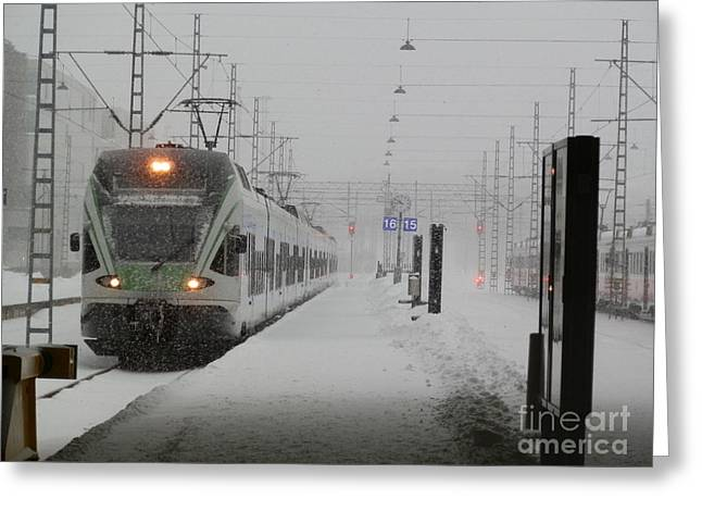 Train In Helsinki Greeting Card