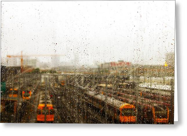 Train In The Rain Greeting Card