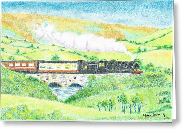 Train In The Valley Greeting Card by Mark Babeck