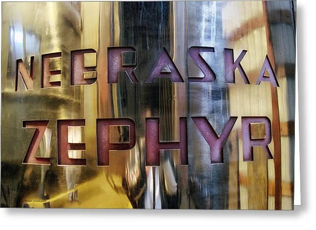 Train Of The Goddess Nebraska Zephyr Signage Greeting Card