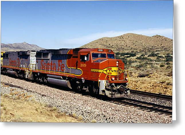 Train On A Railroad Track, Santa Fe Greeting Card by Panoramic Images