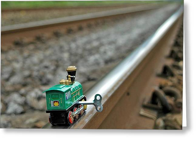 Train On Tracks Greeting Card by Bill Kellett