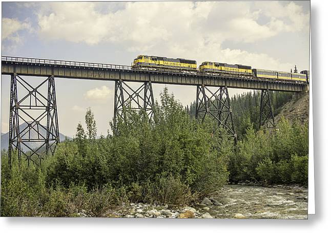 Train On Trestle Greeting Card