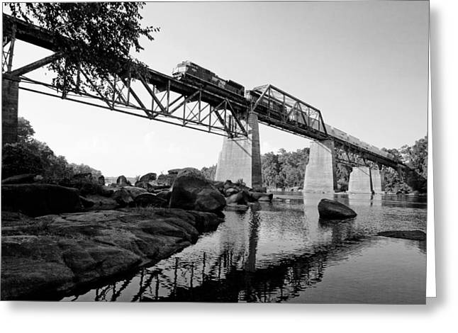Train Over The Congaree In Bw Greeting Card