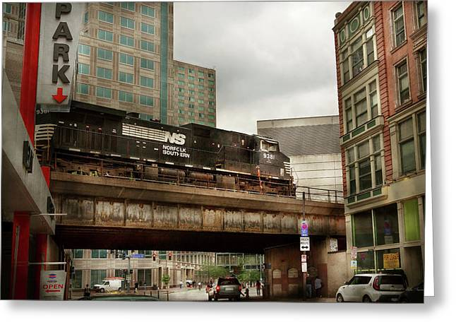 Train - Pittsburg Pa - The Industrial City Greeting Card