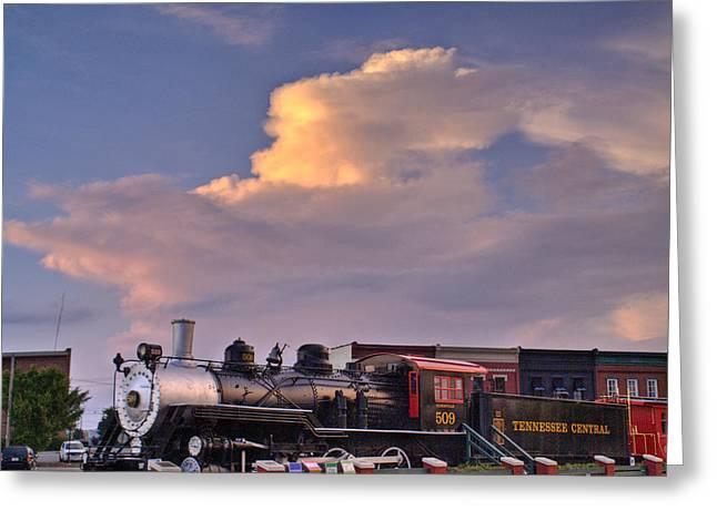 Train Race Greeting Card by Douglas Barnett