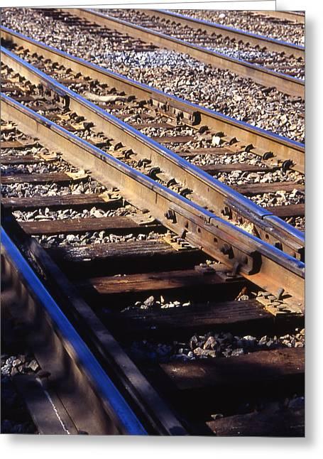 Train Rails Greeting Card by Randy Muir