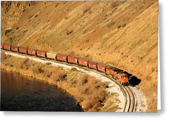 Train Rounding The Bend Greeting Card by Jeff Swan