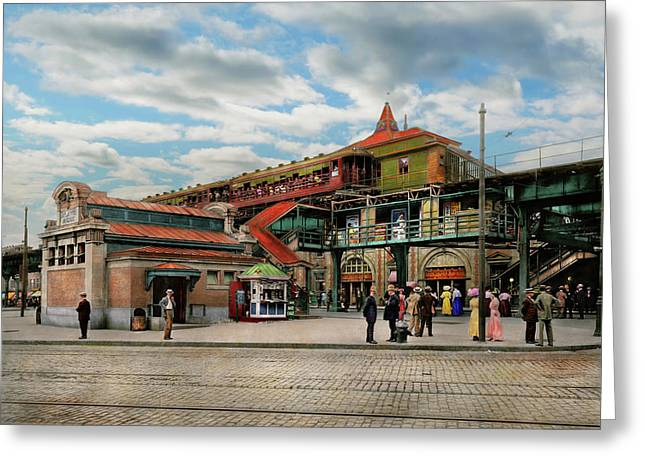 Train Station - Atlantic Ave Control House 1910 Greeting Card by Mike Savad
