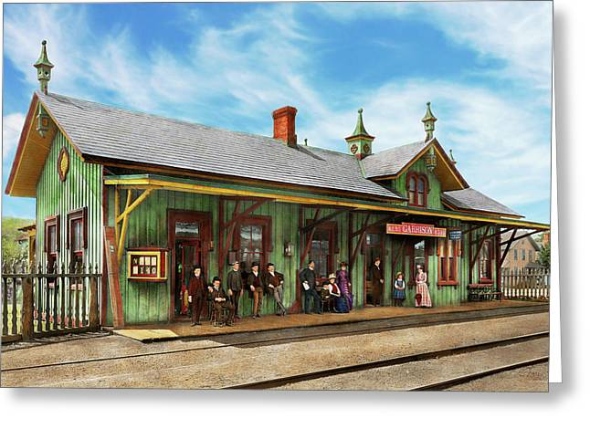 Greeting Card featuring the photograph Train Station - Garrison Train Station 1880 by Mike Savad