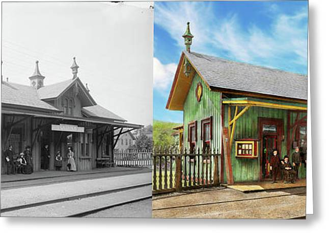 Greeting Card featuring the photograph Train Station - Garrison Train Station 1880 - Side By Side by Mike Savad