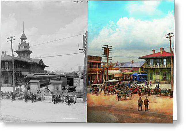Train Station - Louisville And Nashville Railroad 1905 - Side By Greeting Card by Mike Savad
