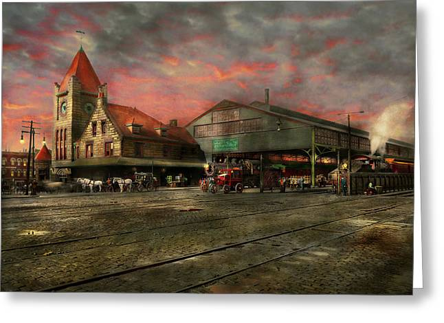 Train Station - Ny Central Railroad Depot 1905 Greeting Card by Mike Savad