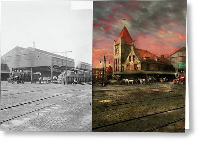 Train Station - Ny Central Railroad Depot 1905 - Side By Side Greeting Card by Mike Savad