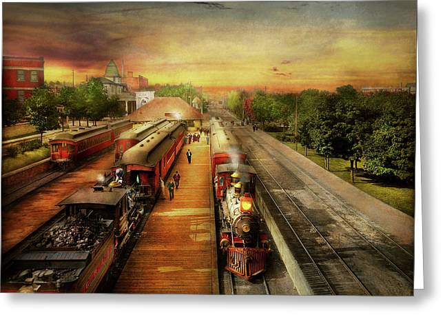 Train Station - The Romance Of The Rails 1908 Greeting Card
