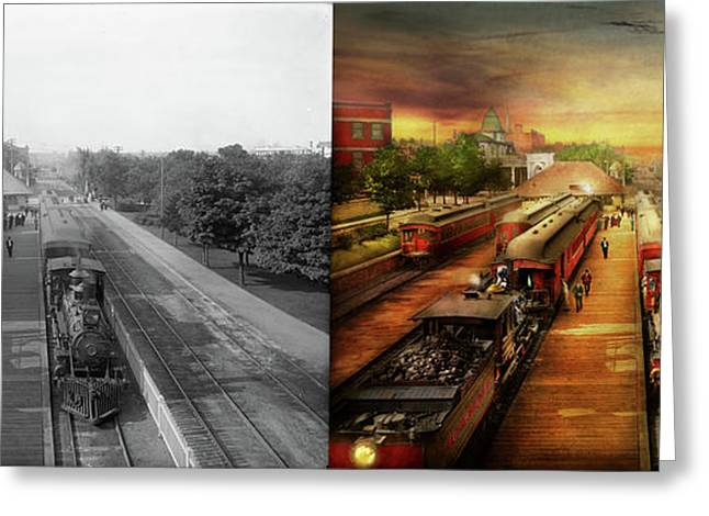 Train Station - The Romance Of The Rails 1908 - Side By Side Greeting Card