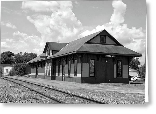 Train Station Tully New York Bw Greeting Card by Thomas Woolworth