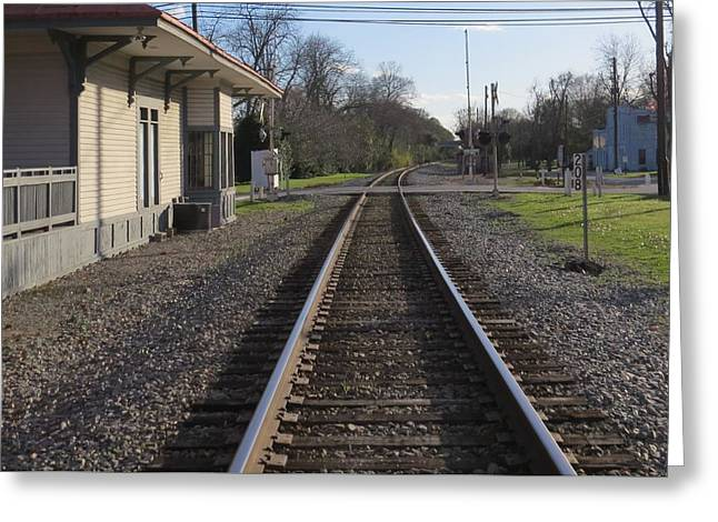 Greeting Card featuring the photograph Train Station View by Aaron Martens