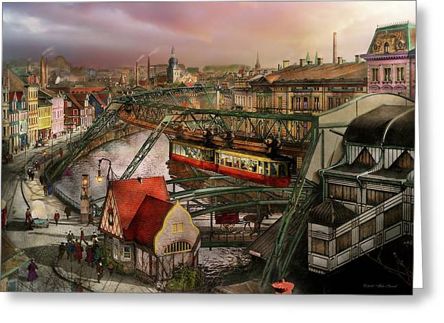 Train Station - Wuppertal Suspension Railway 1913 Greeting Card by Mike Savad