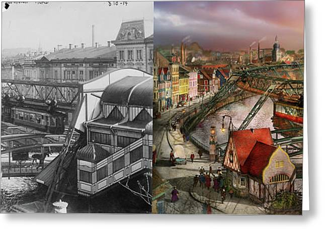 Train Station - Wuppertal Suspension Railway 1913 - Side By Side Greeting Card by Mike Savad