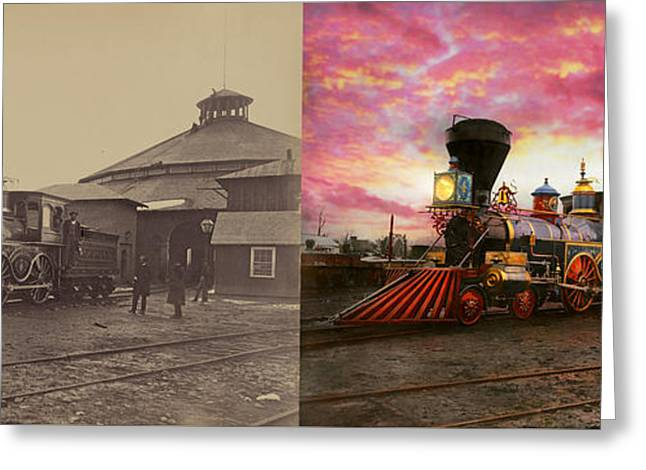 Train - The Jh Devereux 1862 - Side By Side Greeting Card