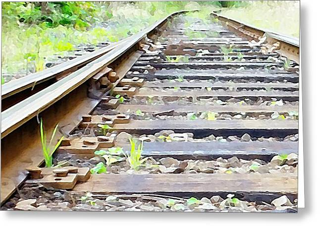 Train Track Greeting Card by Kathleen Voort