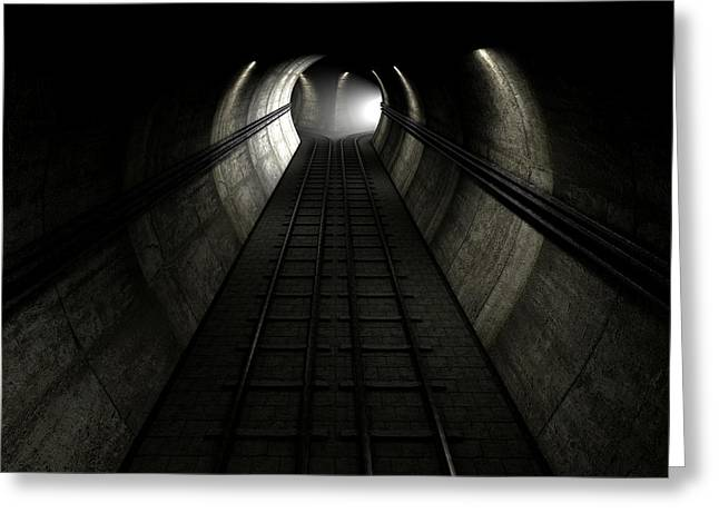 Train Tracks And Approaching Train Greeting Card by Allan Swart