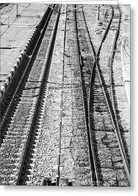 Train Tracks Greeting Card by Gabriela Insuratelu