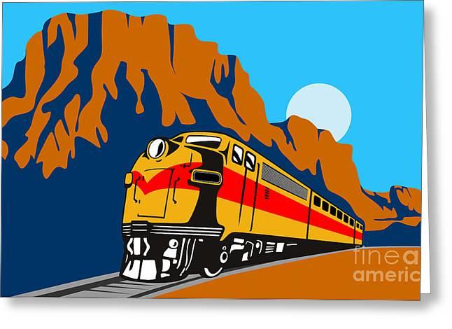 Train Traveling With Canyon Greeting Card by Aloysius Patrimonio