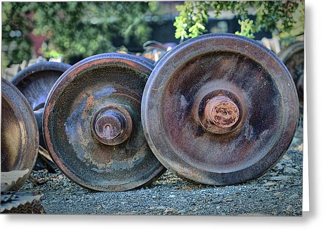 Greeting Card featuring the photograph Train Wheels by Steve Siri