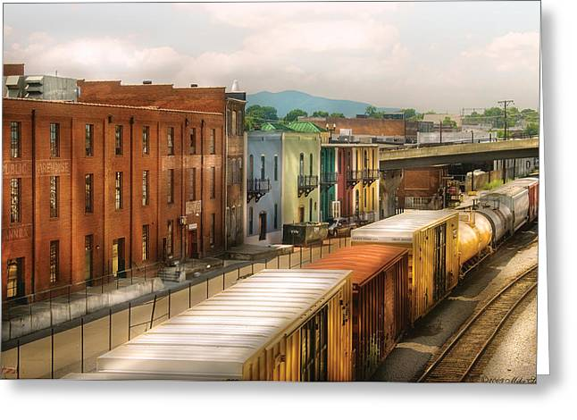 Train - Yard - Train Town Greeting Card by Mike Savad