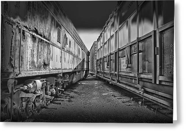 Train Yards Black And White Greeting Card