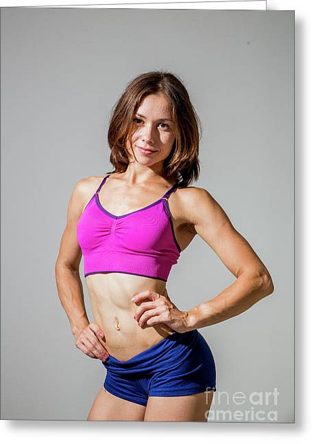 Training Women In Sport Clothing  Greeting Card by Sv