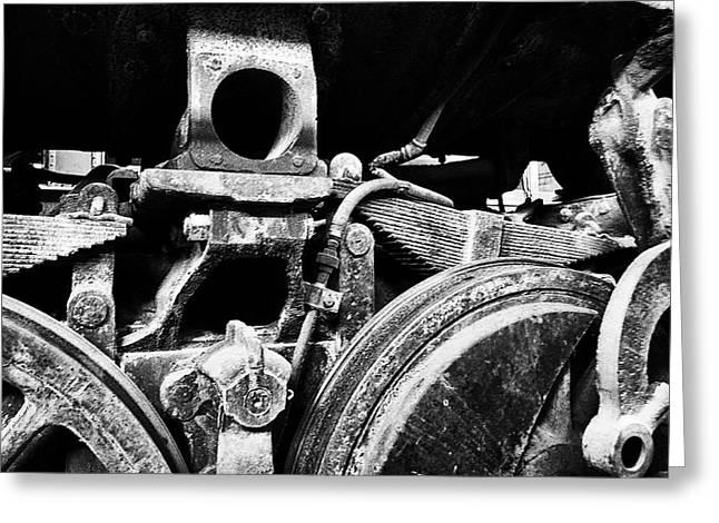 Trains Ancient Iron Parts Bw Greeting Card