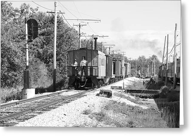 Trains Caboose Bw Greeting Card by Thomas Woolworth