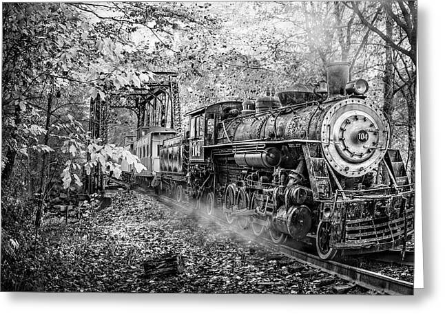 Train's Coming Black And White Greeting Card by Debra and Dave Vanderlaan