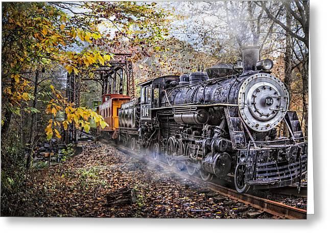 Train's Coming Greeting Card by Debra and Dave Vanderlaan